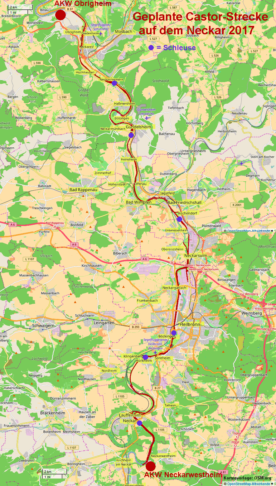 Neckarradweg Karte.Bündnis Neckar Castorfrei Karte Der Transportstrecke Auf Dem Neckar